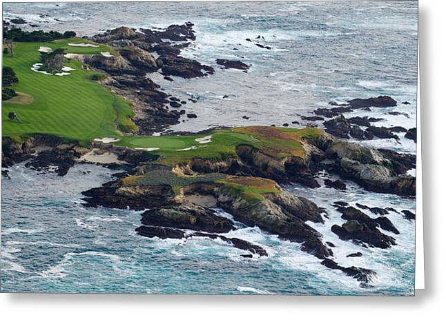 Non Urban Scene Greeting Cards - Golf Course On An Island, Pebble Beach Greeting Card by Panoramic Images