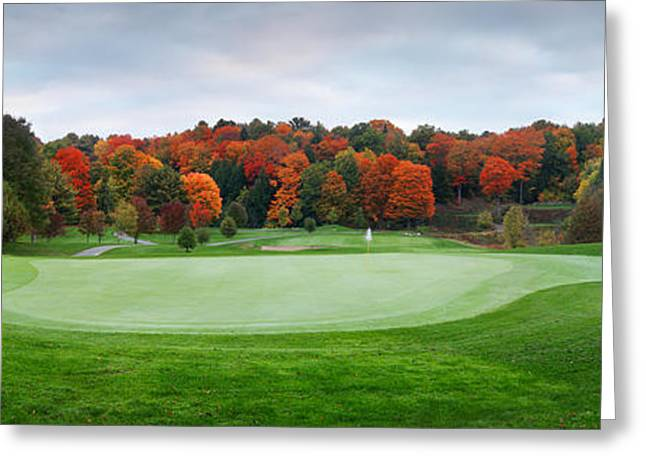 Fall Panorama Greeting Cards - Golf course panorama in fall Greeting Card by Oleksiy Maksymenko