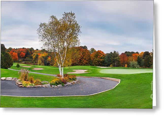 Fall Panorama Greeting Cards - Golf course panoramic fall scenery Greeting Card by Oleksiy Maksymenko