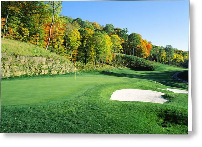 Club Scene Greeting Cards - Golf Course, Raven Golf Club, Snowshoe Greeting Card by Panoramic Images
