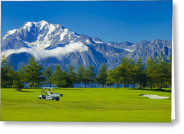 Beautiful Car Greeting Cards - Golf course Riederalp Swiss Alps Switzerland Greeting Card by Matthias Hauser