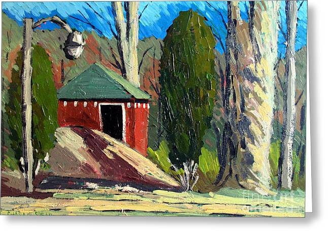 Outbuildings Greeting Cards - GOLF COURSE SHED Series No.14 Greeting Card by Charlie Spear