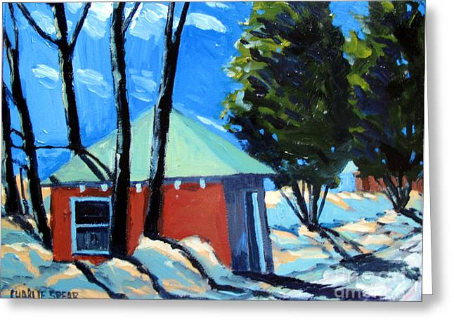 Outbuildings Greeting Cards - GOLF COURSE SHED Series No.4 Greeting Card by Charlie Spear