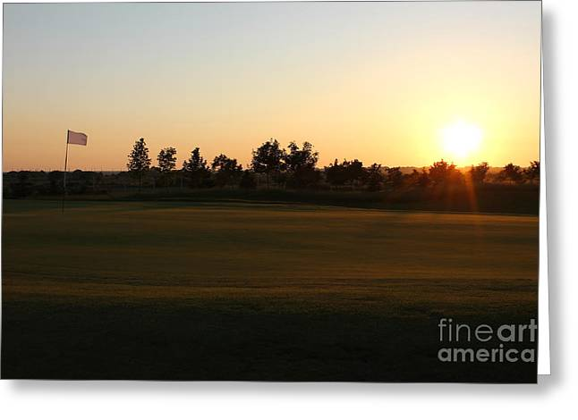 Golfcourse Greeting Cards - Golf Course Sunset Greeting Card by Kiril Stanchev