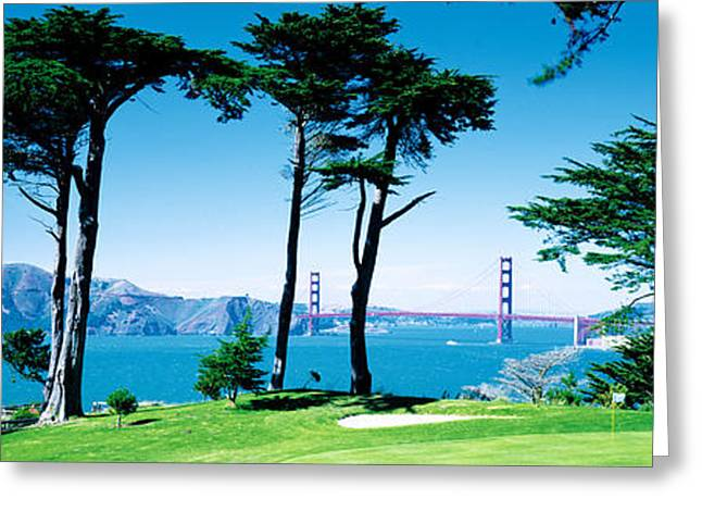 Boats In Water Greeting Cards - Golf Course W\ Golden Gate Bridge San Greeting Card by Panoramic Images