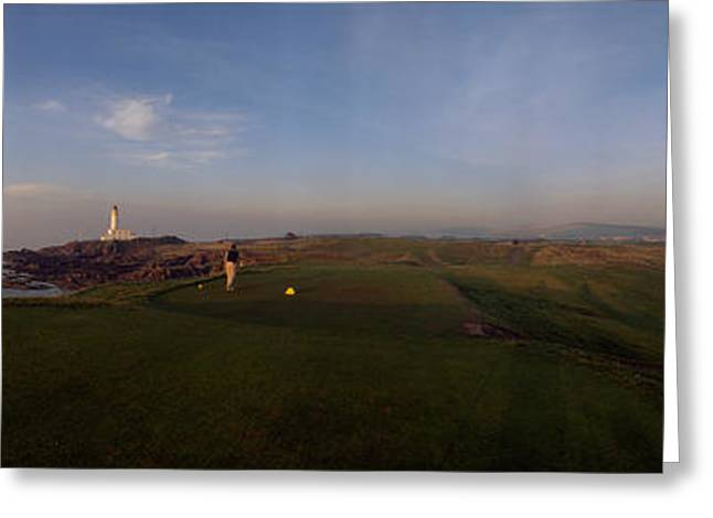 Weekend Photographs Greeting Cards - Golf Course With A Lighthouse Greeting Card by Panoramic Images