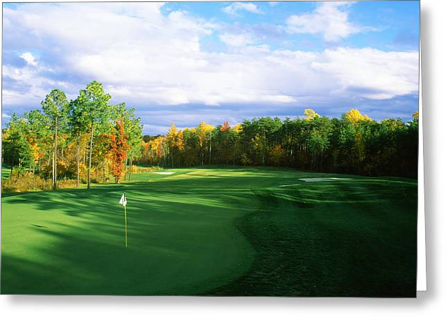 Stafford Greeting Cards - Golf Flag In A Golf Course, Augustine Greeting Card by Panoramic Images