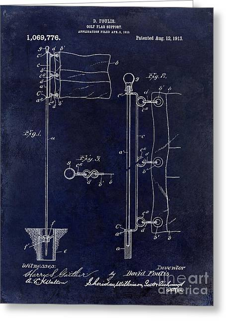 Golf Photographs Greeting Cards - 1913 Golf Flag Patent Blue Greeting Card by Jon Neidert