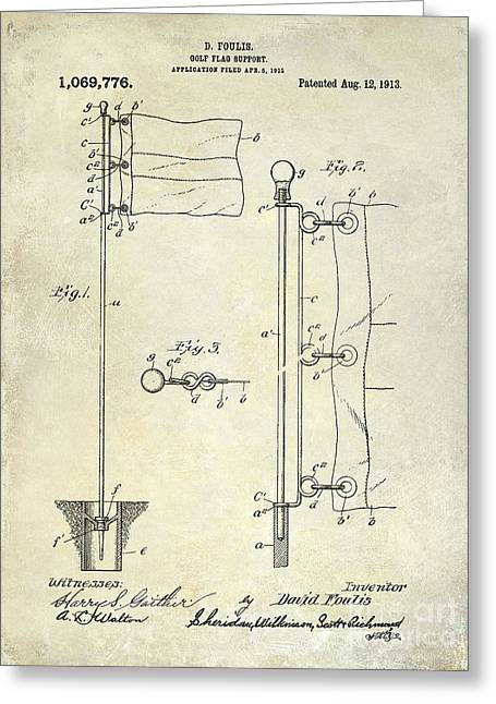 Golf Photographs Greeting Cards - 1913 Golf Flag Patent  Greeting Card by Jon Neidert