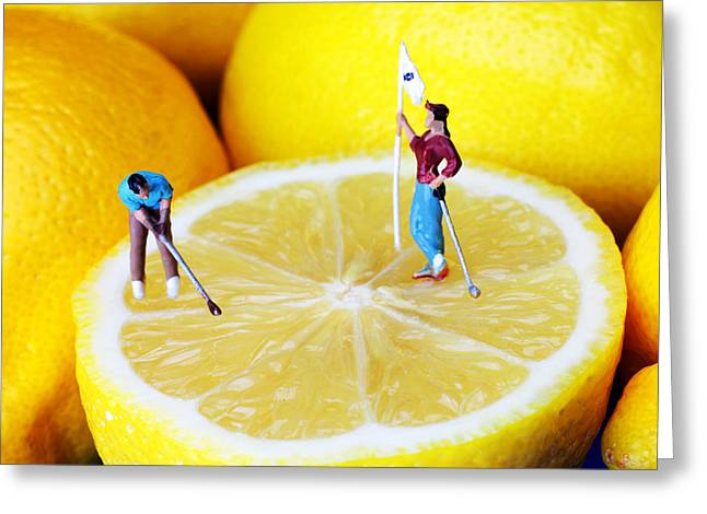 Golf Design Greeting Cards - Golf game on lemons little people on food Greeting Card by Paul Ge