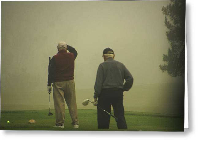 Firsts Pyrography Greeting Cards - GOLF in a Fog Greeting Card by Max  Greene