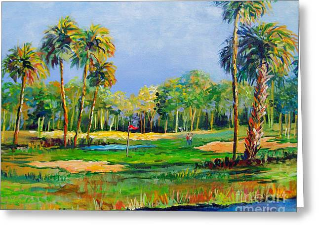 Tropical Golf Course Greeting Cards - Golf in the Tropics Greeting Card by Lou Ann Bagnall