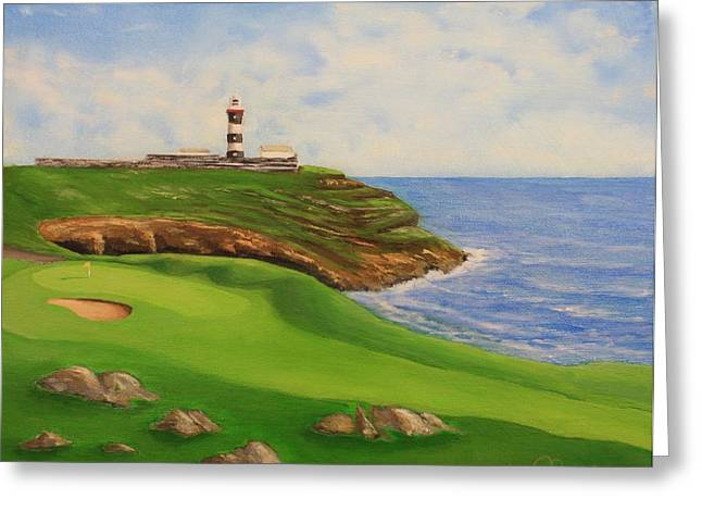 Lighthouse By The Sea Greeting Cards - Golf Old Head of Kinsale Greeting Card by Jacob Browning