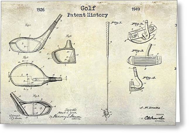 Golf Photographs Greeting Cards - Golf Patent History Drawing Greeting Card by Jon Neidert