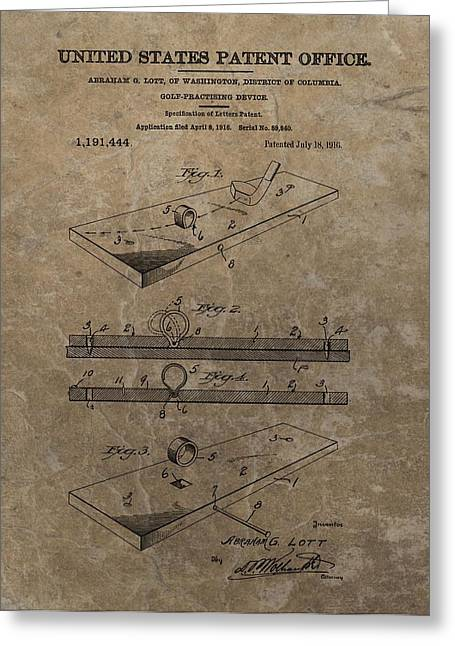 Putt Greeting Cards - Golf Practice Device Patent Greeting Card by Dan Sproul