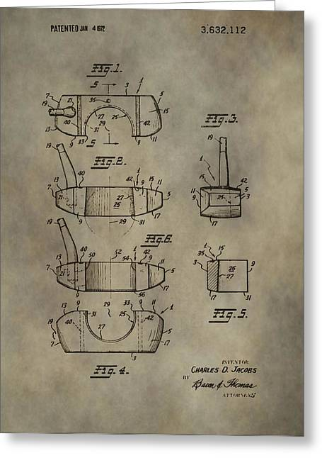Caddy Mixed Media Greeting Cards - Golf Putter Patent Greeting Card by Dan Sproul