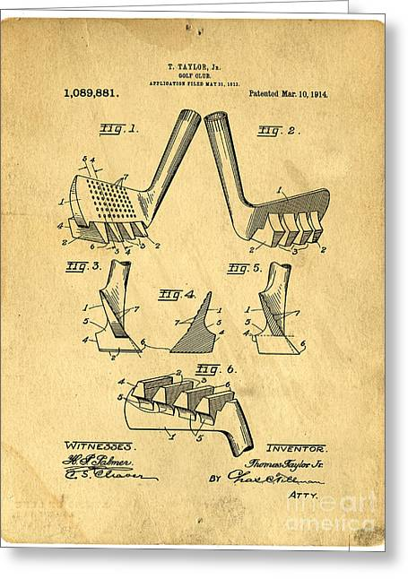Pastimes Greeting Cards - Golf Putter Patent Greeting Card by Edward Fielding