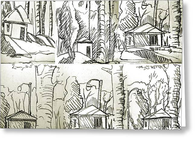 Graphite Greeting Cards - Golf Shed series 1 thru 6 Greeting Card by Charlie Spear