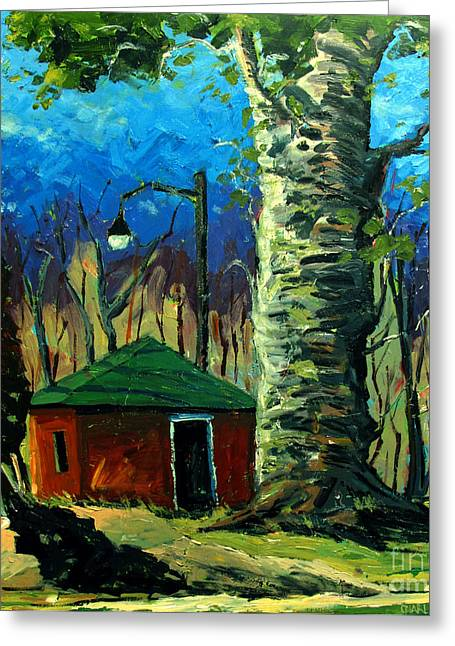 Shed Paintings Greeting Cards - Golf Shed series No 17 Greeting Card by Charlie Spear
