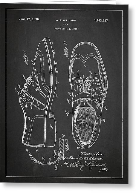 Footwear Greeting Cards - Golf shoe Patent Drawing From 1927 Greeting Card by Aged Pixel