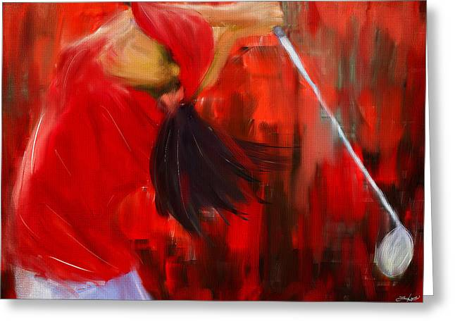 Professional Golf Greeting Cards - Golf Swing Greeting Card by Lourry Legarde