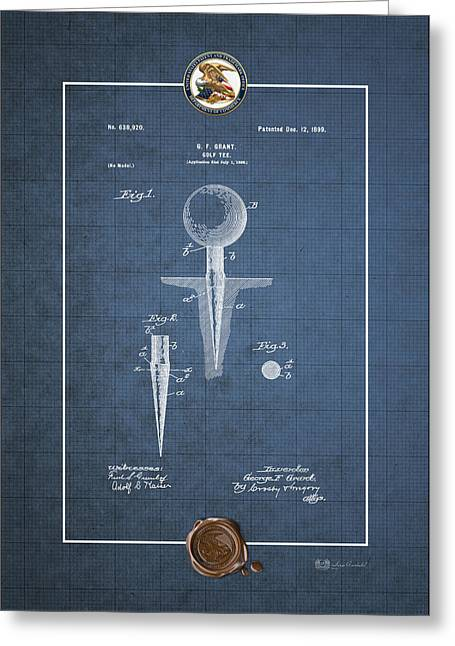 Sports Memorabilia Greeting Cards - Golf tee by George F. Grant - Vintage Patent Blueprint Greeting Card by Serge Averbukh