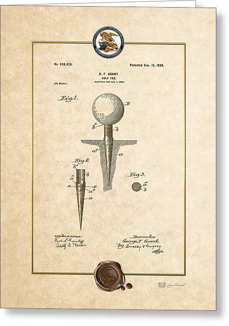 Sports Memorabilia Greeting Cards - Golf tee by George F. Grant - Vintage Patent Document Greeting Card by Serge Averbukh