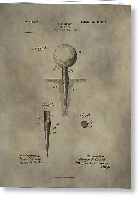 Ground Mixed Media Greeting Cards - Golf Tee Patent Greeting Card by Dan Sproul