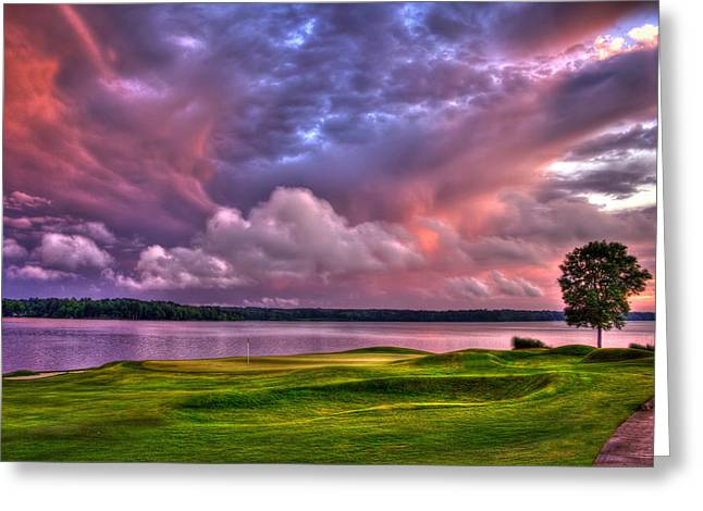 Golf Hole Greeting Cards - Golf The Landing at Reynolds Plantation Greeting Card by Reid Callaway