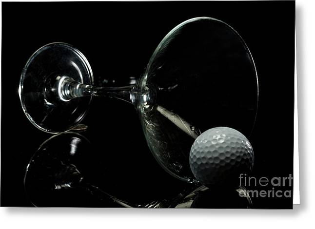 Linda Matlow Greeting Cards - Golf Tini Golf ball and martini glass Greeting Card by Linda Matlow
