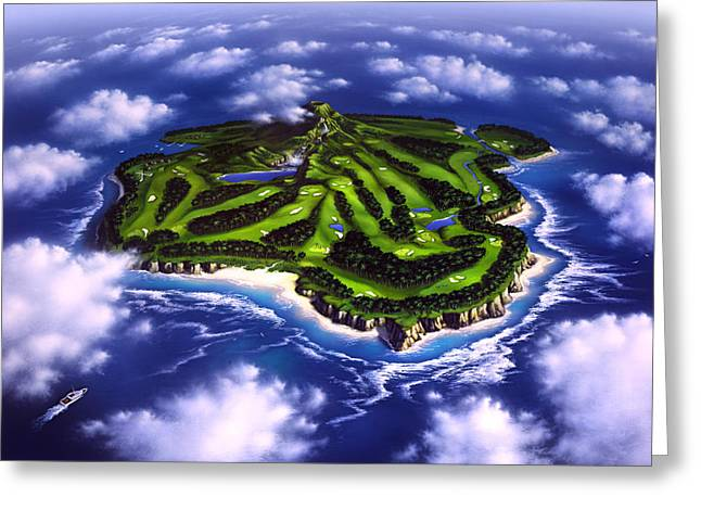 Tropical Golf Course Greeting Cards - Golfers Paradise Greeting Card by Jerry LoFaro