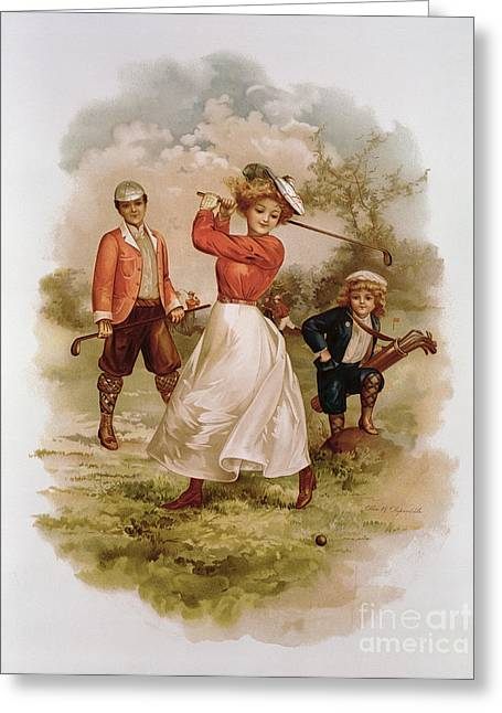 Three Children Paintings Greeting Cards - Golfing Greeting Card by Ellen Hattie Clapsaddle
