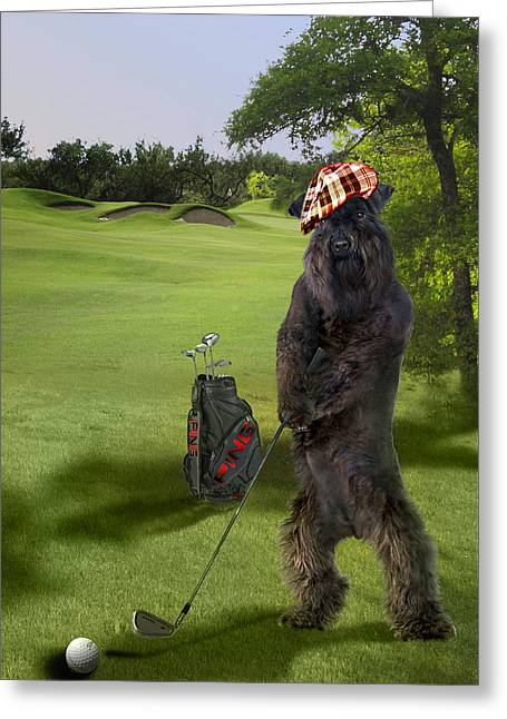 Terrier Golfing Putting Greens Greeting Card by Regina Femrite
