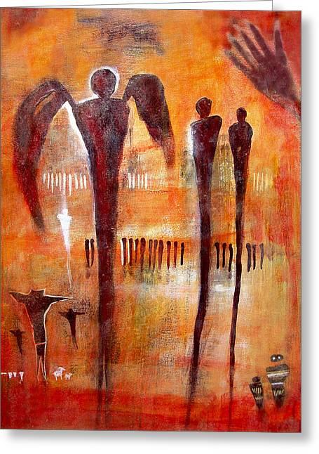 Non-figurative Greeting Cards - Golgotha Petroglyph Greeting Card by Derrick Higgins