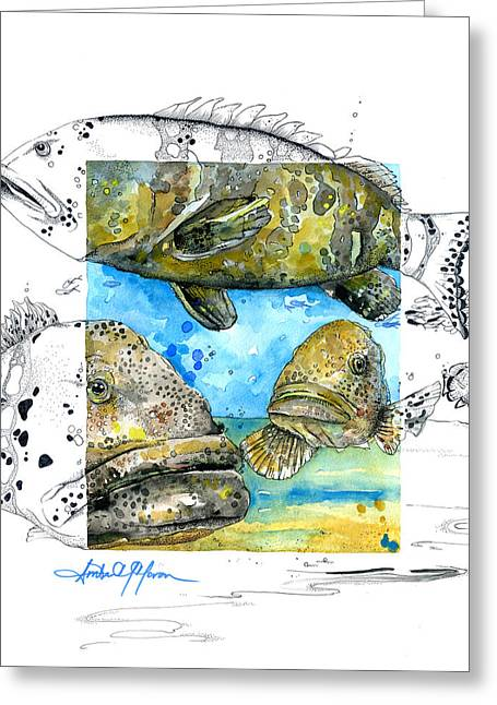 Scuba Diving Mixed Media Greeting Cards - Goliath Grouper Greeting Card by Amber M  Moran