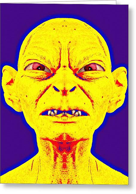 Gaze Mixed Media Greeting Cards - Gollum alias in The Lord of the Rings The Two Towers Greeting Card by Art Cinema Gallery