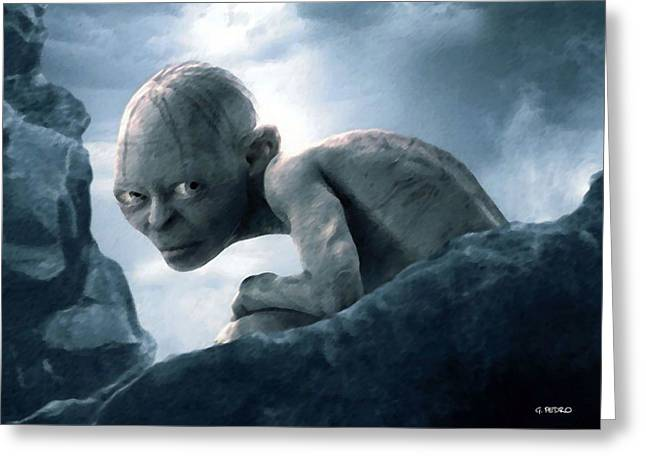 Jrr Tolkien Greeting Cards - Gollum Greeting Card by George Pedro