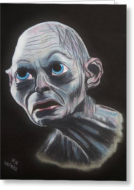 Lord Of The Rings Pastels Greeting Cards - Gollum Greeting Card by Kevin Hubbard
