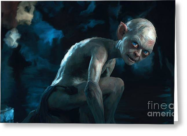Gold Ring Greeting Cards - Gollum Greeting Card by Paul Tagliamonte