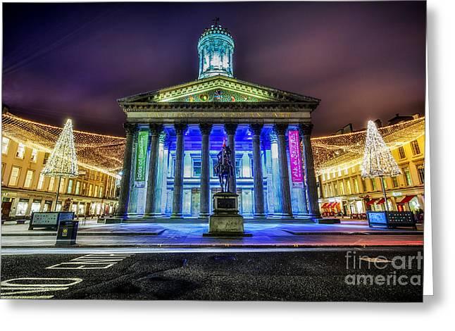 GOMA Glasgow lit up Greeting Card by John Farnan