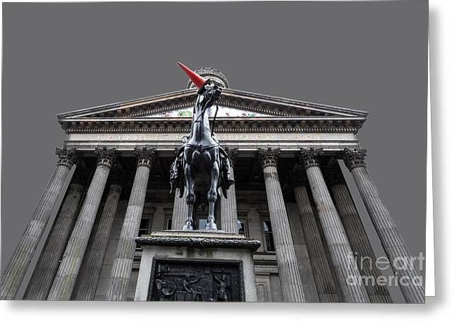 GOMA Glasgow Pop Art Grey Greeting Card by John Farnan