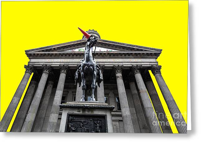 Goma pop art yellow Greeting Card by John Farnan