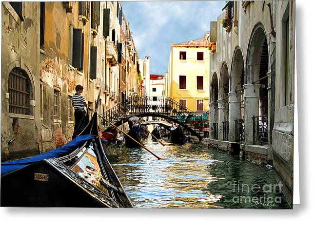 Color_image Greeting Cards - Gondola 158-Venice Greeting Card by Jennie Breeze