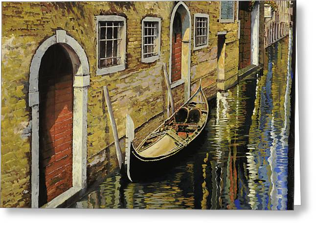 Red Doors Greeting Cards - Gondola a Venezia Greeting Card by Guido Borelli