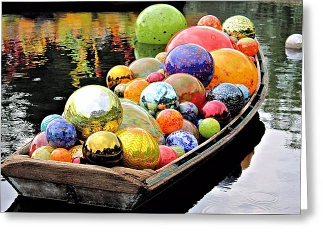 Reflection Glass Greeting Cards - Gondola Greeting Card by Elizabeth Budd
