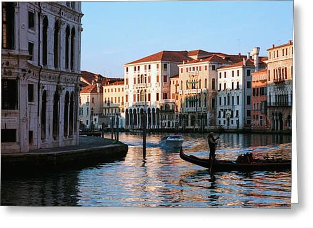 Speed Boat Greeting Cards - Gondola In A Canal, Grand Canal Greeting Card by Panoramic Images