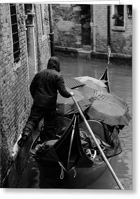 Umbrellas Pyrography Greeting Cards - Gondola in the rain Greeting Card by Cornel Petrus