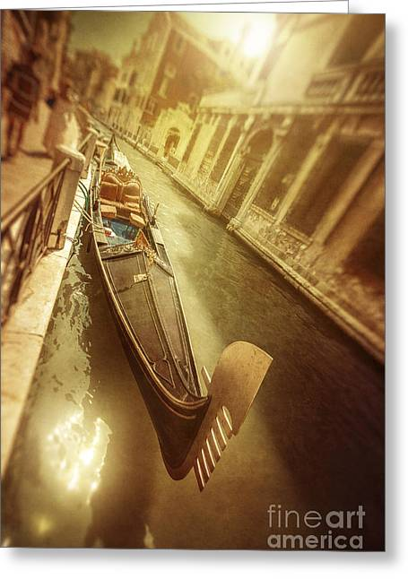 Italian Sunset Greeting Cards - Gondola In Venetian Canal At Sunset Greeting Card by Evgeny Kuklev