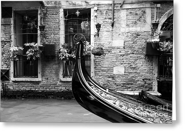 Venetian Canals Greeting Cards - Gondola In Venice bw Greeting Card by Mel Steinhauer