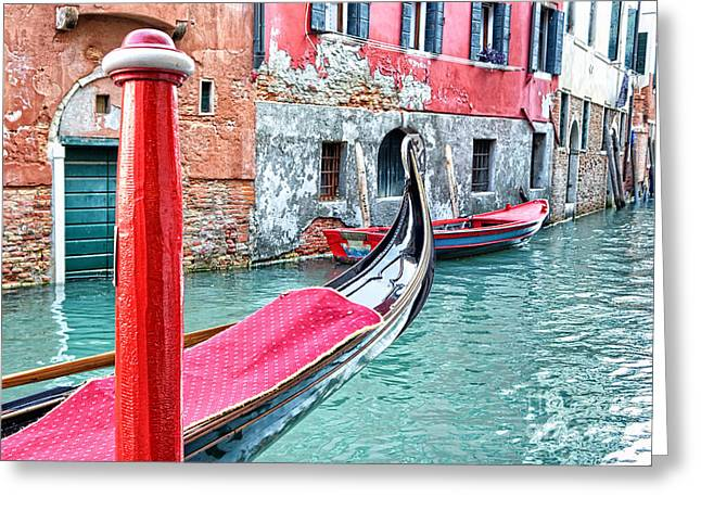 Gondola Moored On A Venetian Canal - Venice Greeting Card by Marzia Giacobbe